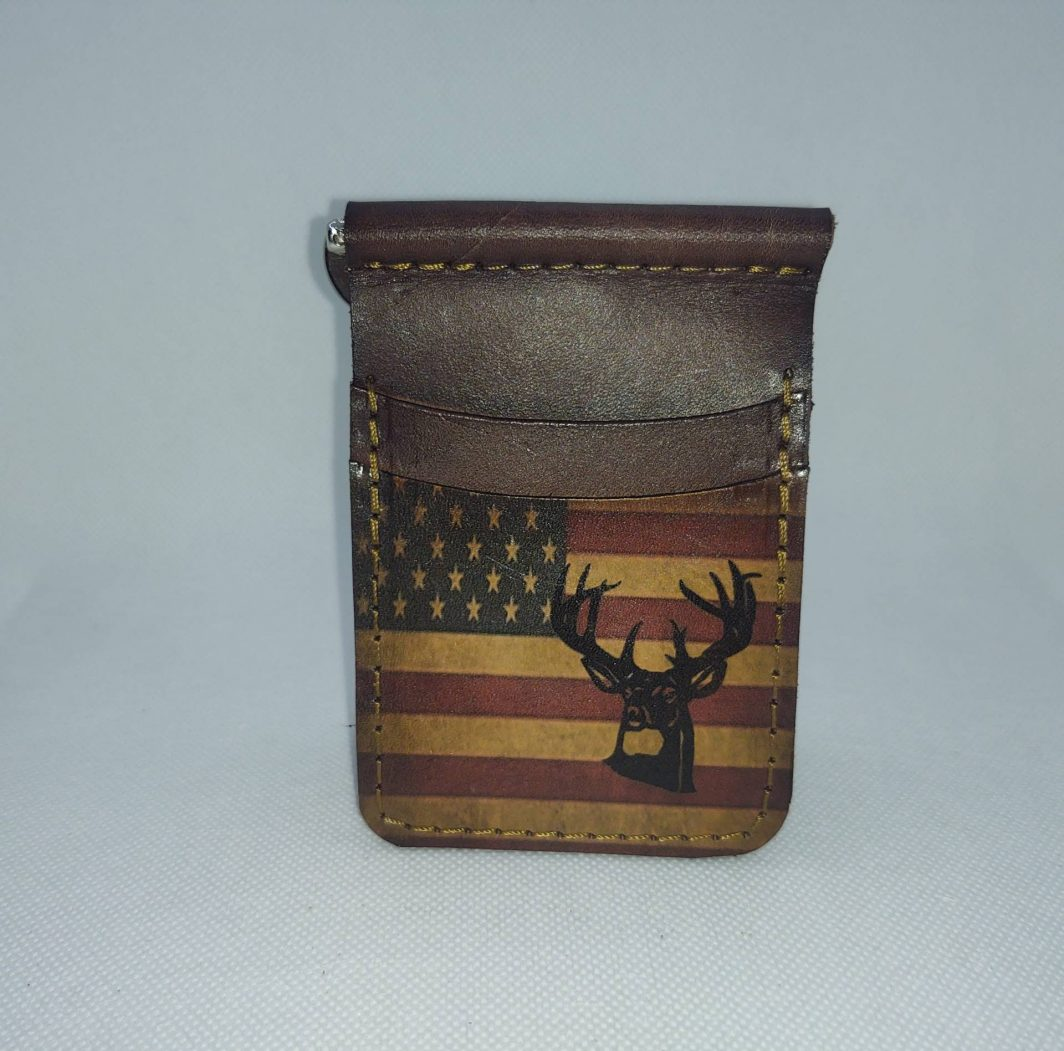 Leather Front Pocket Wallet Fall Buck Minimalist with Clip
