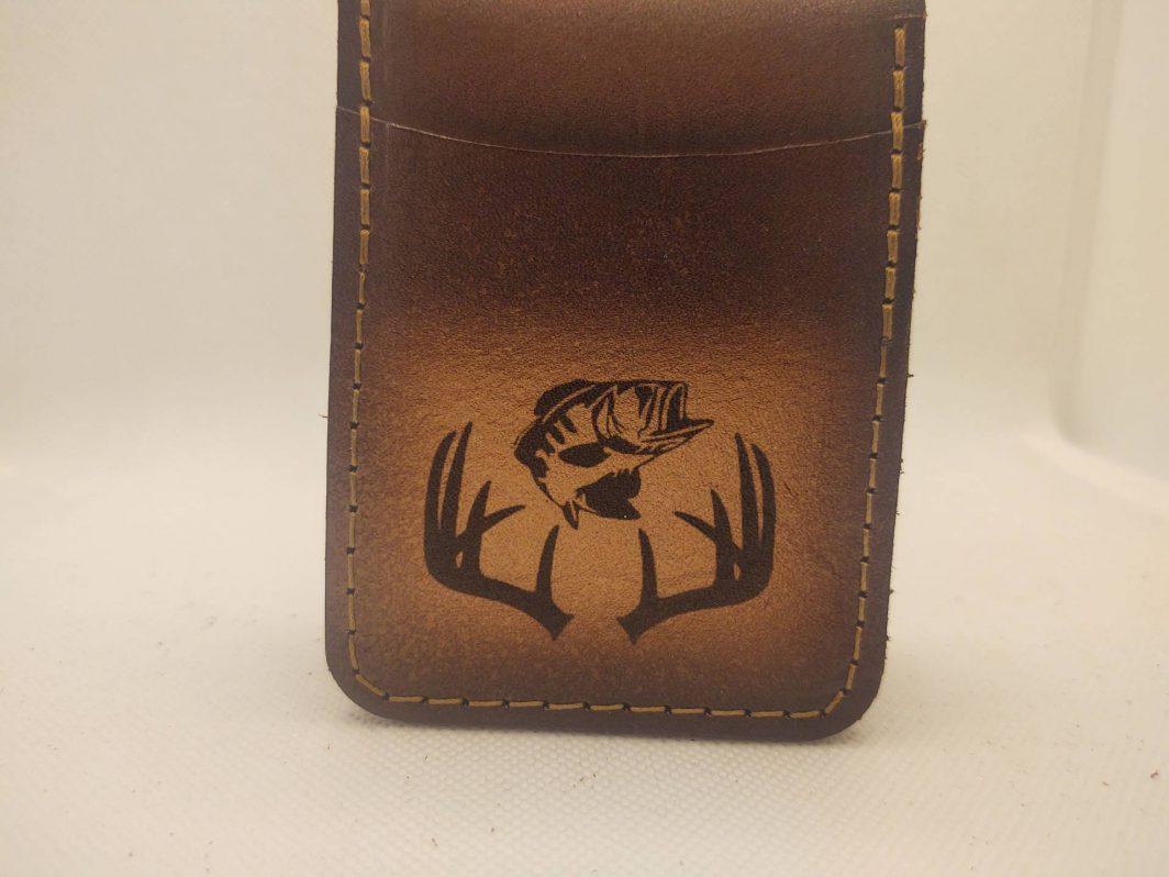 Leather Front Pocket Wallet Antler Bass