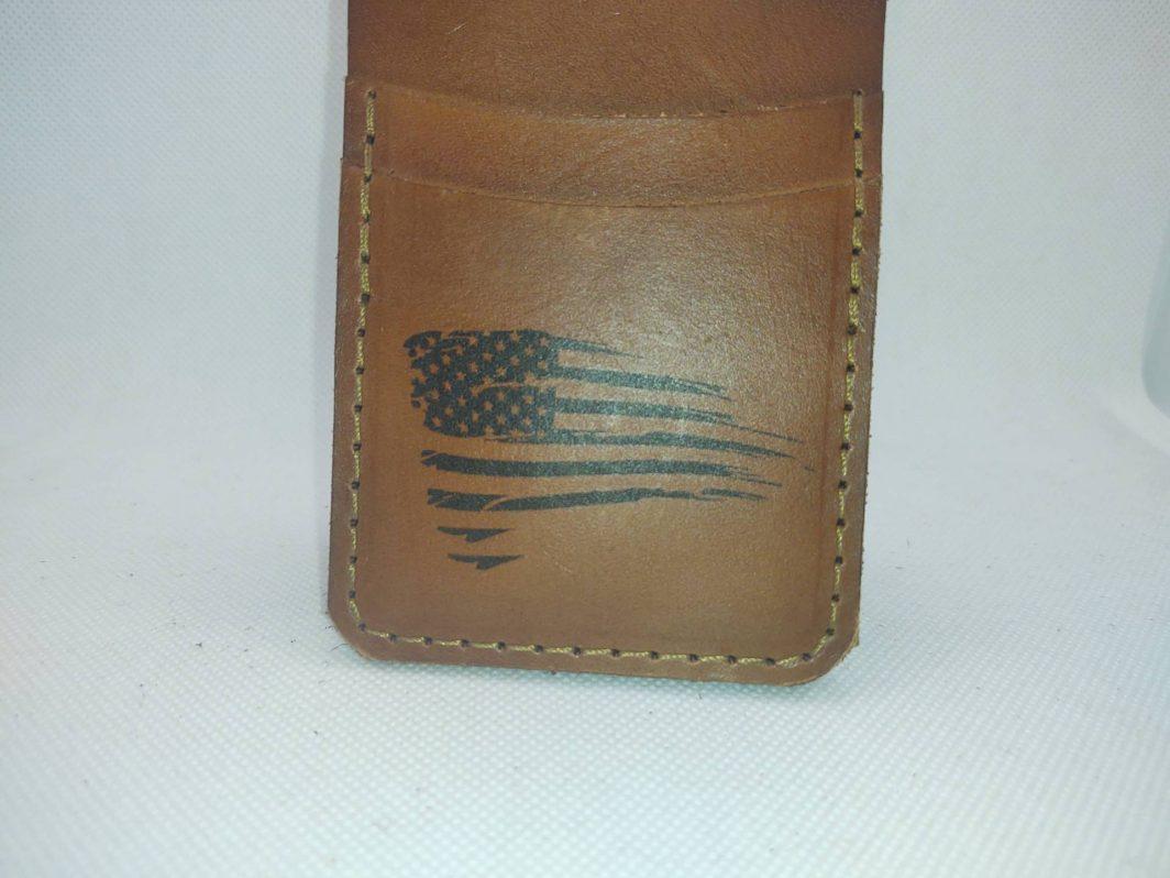 Leather Front Pocket Wallet Tattered Flag