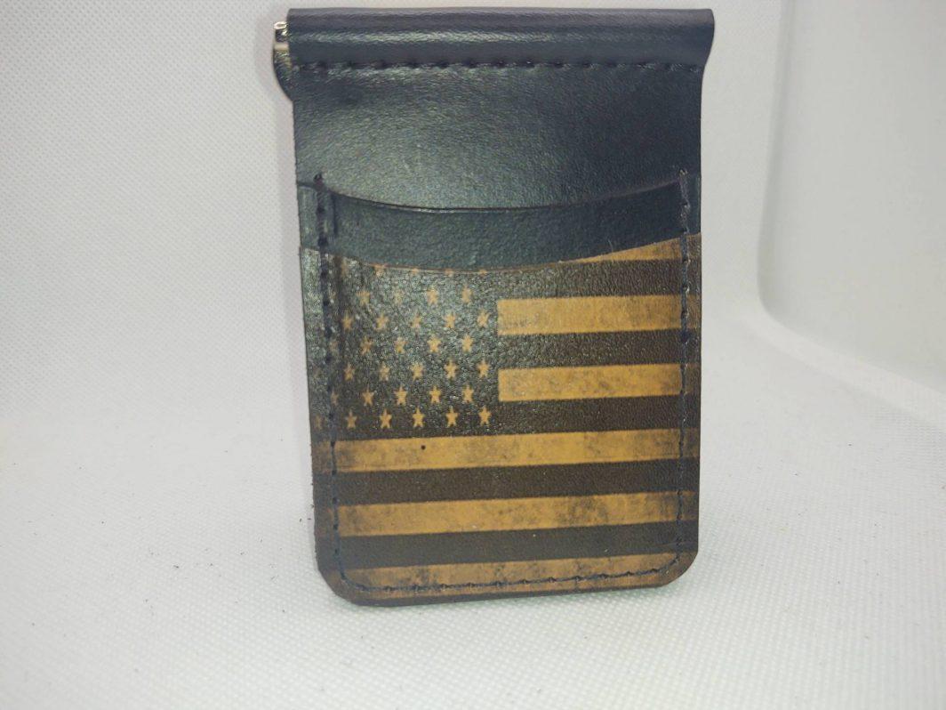 Leather Black Flag Front Pocket Wallet