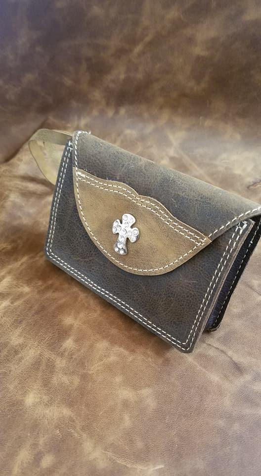 Leather Hutch Clutch w/Cross